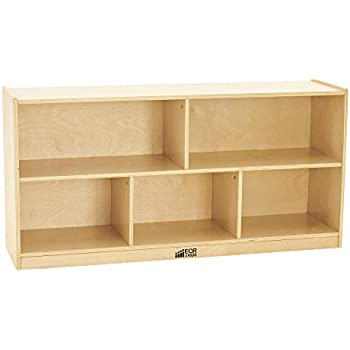 "ECR4Kids Birch 5-Section School Classroom Storage Cabinet with Casters, Natural, 24"" H"