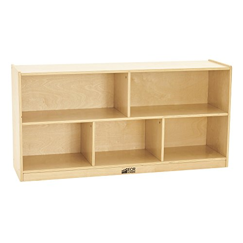 Bookcase Birch (ECR4Kids Birch 5-Section School Classroom Storage Cabinet with Casters, Natural, 24