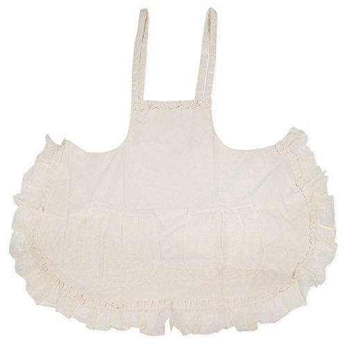 Cream Colored Lace Trim and Ruffled 31 Inch Womens Cotton Apron with Front Pockets