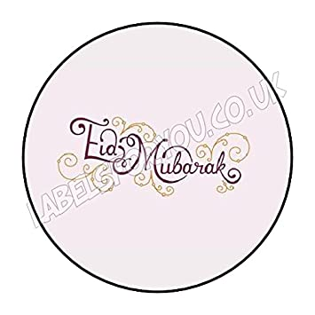 35 x 37mm personalised eid mubarak party stickers labels