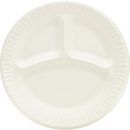 Foam Laminated Non Dinnerware (Dart 9CPWCR, 9-Inch Concorde White Compartmented Non-Laminated Foam Plate, Take Out Disposable Catering Food Serving Plates (100))