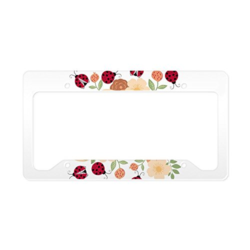 CafePress Mod Lady Bugs Flower Garden Aluminum License Plate Frame, License Tag Holder