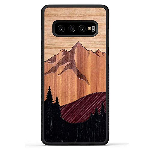 (Carved | Galaxy S10 Plus | Luxury Protective Traveler Case | Unique Real Wooden Phone Cover | Rubber Bumper | Mount Bierstadt)