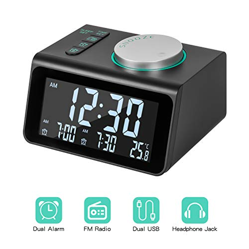Alarm Clock Radio with FM Radio, Dual Alarms Clock, 3.2