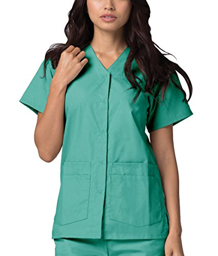 Adar Universal Double Pocket Snap Front Top (Available in 39 Colors) - 604 - Surgical Green - XL -