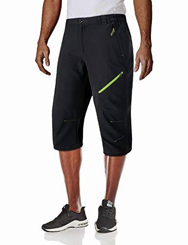 MAGCOMSEN Capri Shorts for Men Outdoor Quick Dry Pants Hiking 3/4 Pants Capri Pants for Men Black