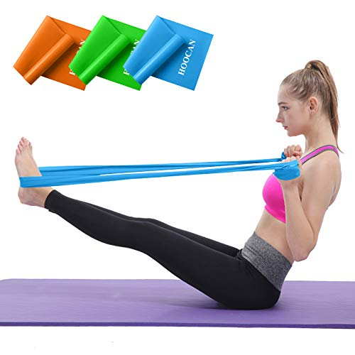 Hoocan Resistance Bands Elastic Exercise Bands Set for Recovery, Physical Therapy, Yoga, Pilates, Rehab,Fitness,Strength…