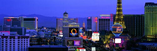 Panoramic Wall Decals - Las Vegas Skyline (4 Foot Wide Removable Graphic)