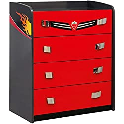 Cilek 20.35.1202.00 GTS ST 4 Drawer Dresser, Red
