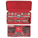 High Carbon Steel 39-Piece Tap & Adjustable Round Die Sets - set tap&die 39pc adj hanson #4-1/2 thre by Irwin Tools
