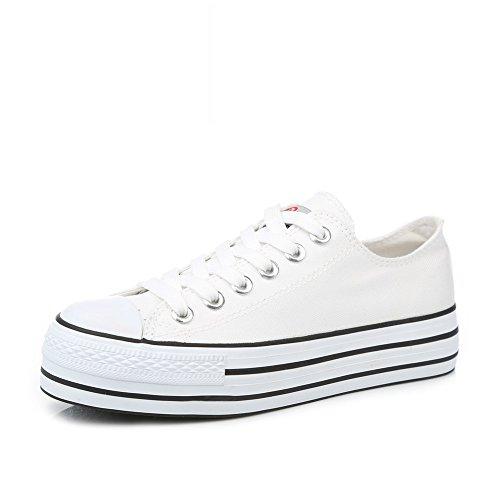Lienzo Clásico,Estilo Coreano Ocio Zapatos De Las Mujeres,Zapatos De Plataforma Con Suela Gruesa Sólida,Zapato De Tendencia Blanco De Estudiante E
