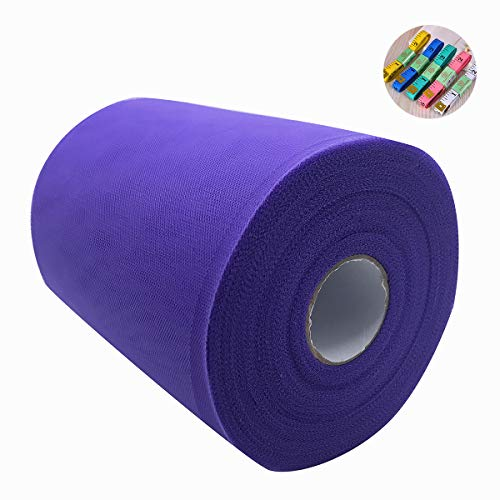 (Saim 6 Inch x 100 Yards (300 Feet) Tulle Rolls Tulle Spool Fabric Rolls Wedding Tulle with Body Measuring Ruler for Gift Bow Craft Tutu Skirt Wedding Party Decorations (Deep Purple))