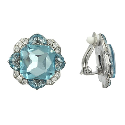(Square Large Center Rhinestone Fancy Formal Prom Clip On Earrings (Aqua Blue))