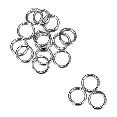 Price comparison product image Housweety 200PCs Silver Tone Stainless Steel Open Jump Rings 10mmx1.4mm