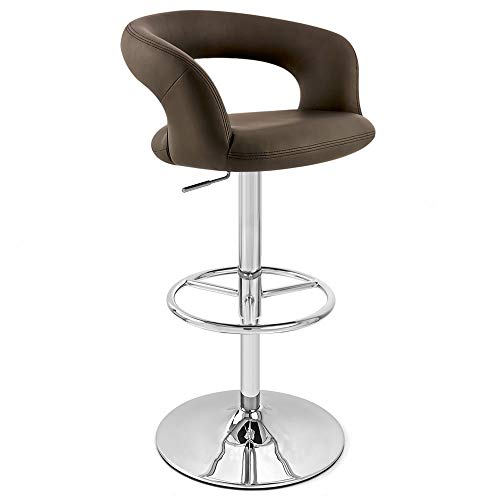 Zuri Furniture Brown Monza Adjustable Height Swivel Armless Bar Stool
