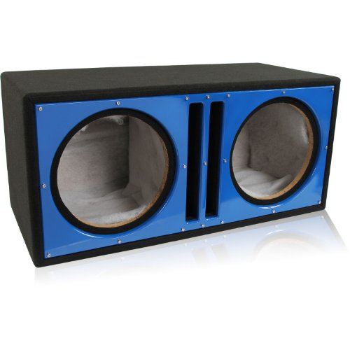 Belva Dual 12-inch Car Ported Subwoofer Box 3/4-inch MDF Prelined Polyfil Includes Custom Blue Baffle - Inch 12 Subwoofer Box Double