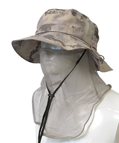 Headshots Patented Unisex Outdoor Hiking Hunting Boating Fishing Safari Bucket Cap Sun Shade Hat with Anti-Mosquito Facemask, Digital Gray (Digital Screen Shade)