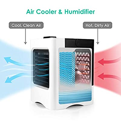 Personal Space Air Conditioner, 4 in 1 Mini USB Personal Space Air Cooler, Humidifier, Purifier, Desktop Cooling Fan with 3 Speeds for Home Room Office