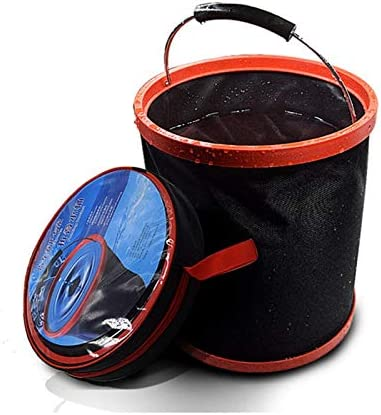 Fssh-mlx 新しいポータブル大容量アウトドアキャンプ釣り折りたたみ水バケツ車の収納容器ポータブル釣りツール (色 : Black)