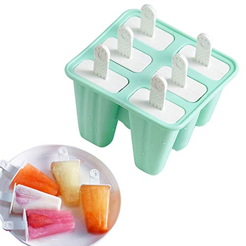 Classic Homemade Ice Pop Molds 6 Easy-release BPA-free Popsicle Molds Shapes Reusable Silicone Frozen Ice Popsicle Maker (Green) (Easy Things To Make Out Of Popsicle Sticks)