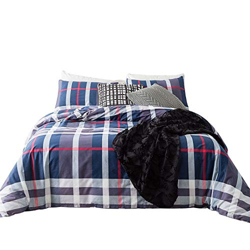 (YuHeGuoJi 3 Pieces Duvet Cover Set 100% Cotton Queen Size Geometric Striped Bedding Set 1 Tartan Print Duvet Cover with Zipper Ties 2 Pillowcases Hotel Quality Soft Durable Comfortable Easy Care)