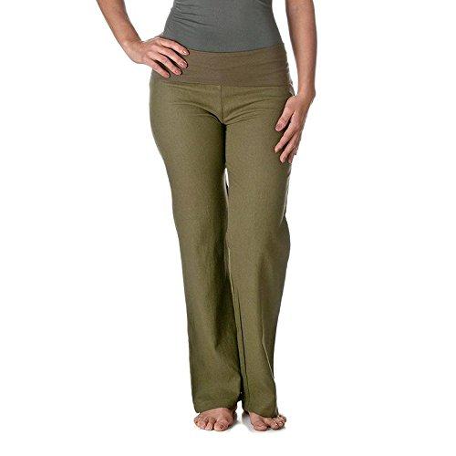 (Love Tree Women's Fold-Over Waist Linen Pants, Olive, Small)