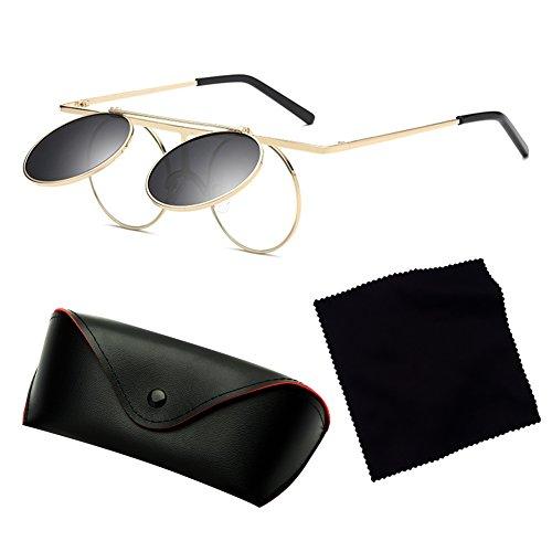 ... Vintage Polarisées Steampunk Polarized lunettes de soleil femmes hommes  hibote gothique ronde Flip Up Lens C3 ... 247774b3d43a