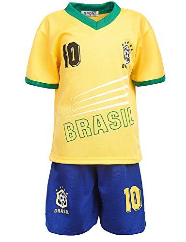 24brands - Jungen Fußball Set 2 Teilig Trainings Trikot Deutschland Italien Brasilien Spanien Türkei Schweiz Ländertrikot - 2630, Größe:152;Farbe:Brasilien