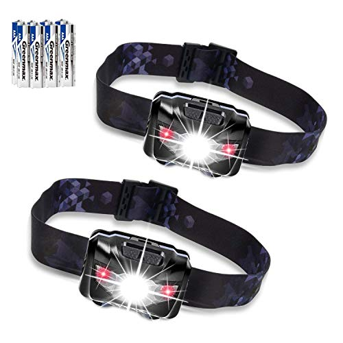 Zukvye LED Headlamp, Ultra Bright 160 Lumens White & Red LEDs, Waterproof Head Light for Running, Camping, Reading & More – batteries included (2 Pack)