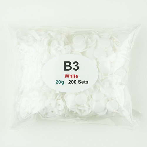 200 Sets of B3 Glossy WHITE - SIZE 20 (1/2') - KAM Plastic/Resin Snaps for Diapers/Bibs/Cloth/PUL