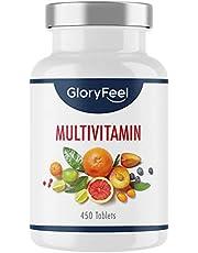 Multivitamin hög dos - 450 tabletter (15 månader) - Jämförande vinnare 2020 * - Alla värdefulla A-Z vitaminer och mineraler - Laboratorietestade utan tillsatser tillverkade i Tyskland