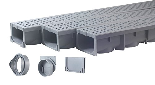 Drainage Trench - Channel Drain With Grate - Gray Plastic - 3 x 39