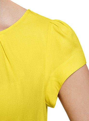 oodji Ultra Mujer Blusa de Viscosa con Cremallera Amarillo (5100N)