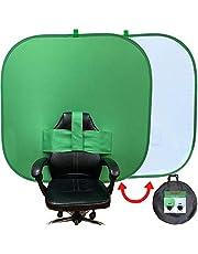 NOVARENA - Kit de fondo de cámara web cuadrado de 1.5 m x 1.5 m, para trabajar desde el casa, videoconferencias de doble cara, 150 cm, pantalla panorámica de fondo, privacidad, chroma key, pantalla verde, telón de fondo, Skype, YouTube, video llamadas.