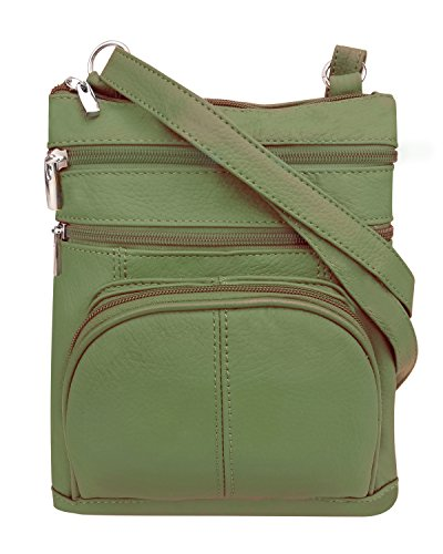 Adjustable Leathers Zippered Purse Crossbody Pockets Front Roma Olive 3 Strap afBqHxw11