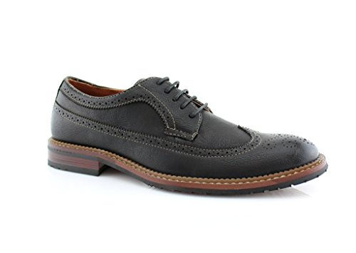 Mens Ferro Aldo 19312 Black Wing Tip Perforated Brogue Lace Up Oxfords Dress Shoes, Black, 11