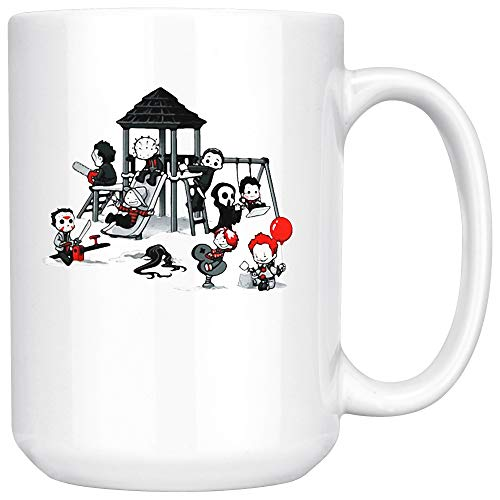 Halloween Squad Micheal Myers Jason Freddy Chucky Pennywise Ceramic Coffee Mug Tea Cup (15oz, White)