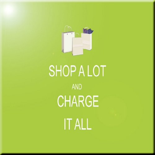 Rikki Knight Shop A Lot /& Charge it All Lime Green Design Ceramic Art Tile 8 x 8