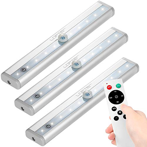 LED Under Cabinet Light with Remote Control, Dimmable Closet Light Battery Operated, LED Night Light with Magnetic Strip for Closet Hallway Kitchen Bedroom by LOFTER