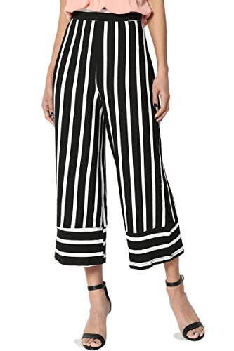 TheMogan Women's Striped Elastic Waist Culotte Wide Flare Cropped Pants Black L (Cropped Pants Striped)