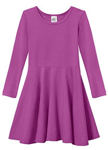 City Threads Big Girls' Super Soft Cotton Long Sleeve Twirly Skater Party Dress,Plum, -