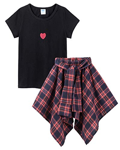 M RACLE Cute Little Girls' 2 Pieces Long Sleeve Top Pants Leggings Clothes Set Outfit (6-7 Years, S-Black Skirt) ()
