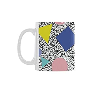 Memphis Pattern Personalized Funny Healthy Ceramic Classical White Mug, Coffee,Water,Tea Cup for Women/Men