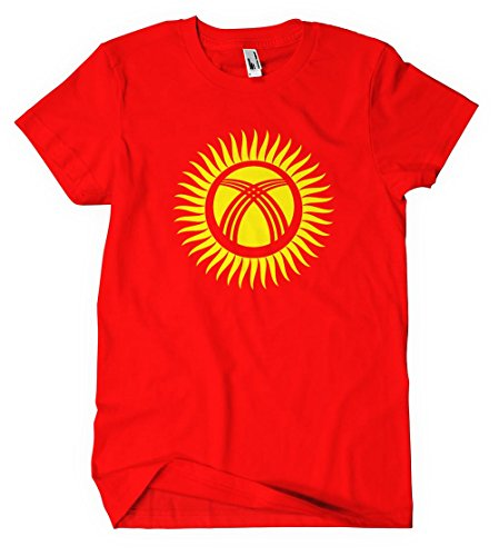 Kyrgyzstan            Flag Red Cotton Adult Unisex T Shirt Tee Top L