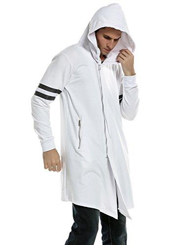 COOFANDY Men's Fashion Long Hooded Outwear Hoody Sweatshirt Teenager Hoodies,White,Large
