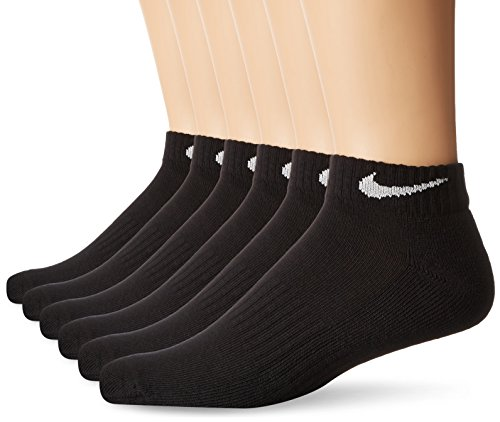 NIKE Unisex Performance Cushion Low Rise Socks with Bag (6 Pairs), Black/White, (Nike Rib)