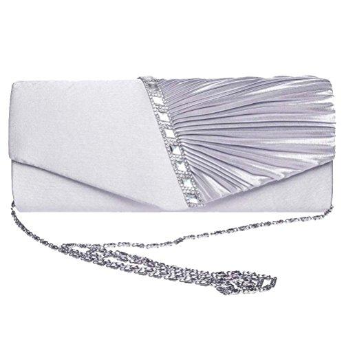 Clutch Women's Handbag Lady Party Crystal Evening Bags Silver - 7