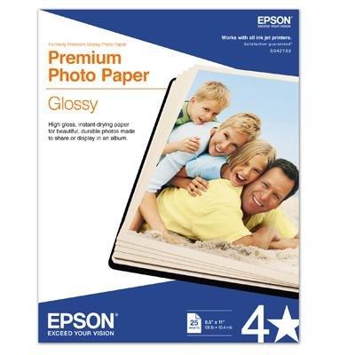 Epson Letter Size Premium Glossy Photo Paper 8.5 X 11 Inch 25 Sheets/Pkg New (Photo Glossy Letter Premium Paper)