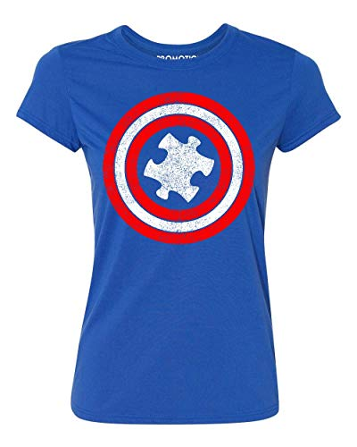 Captain Autism Awareness Hero Shield Women's T-Shirt, L, Royal]()