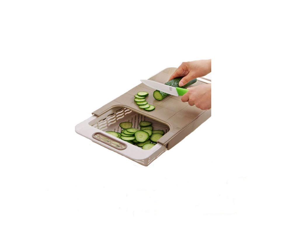 2 In 1 Kitchen sink cutting board removable chopping blocks drainage with drain basket shelf kitchen accessories LX